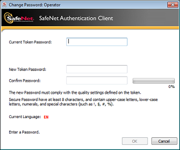 SafeNet   Accessing the device and changing its PIN code